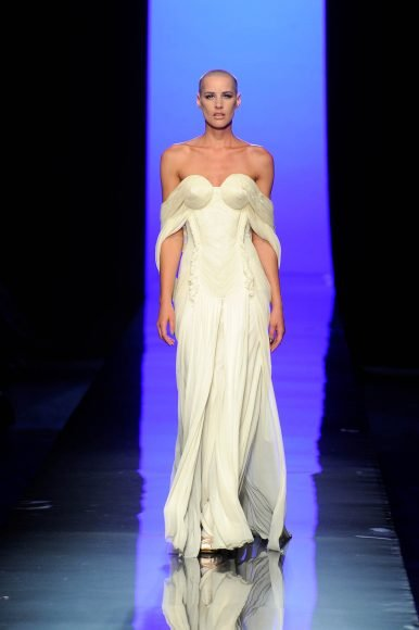 """Jean Paul Gaultier (born in 1952), Black Swan collection, """"Cygne Blancˮ gown, haute couture fall/winter 2011-2012. Gown worn by Ève Salvail, Photo © Patrice Stable/Jean Paul Gaultier"""