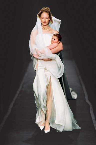 """Jean Paul Gaultier (born in 1952), Cutters collection, """"La Mariée"""" wedding gown, haute couture spring/summer 2001. Photo © Patrice Stable/Jean Paul Gaultier"""